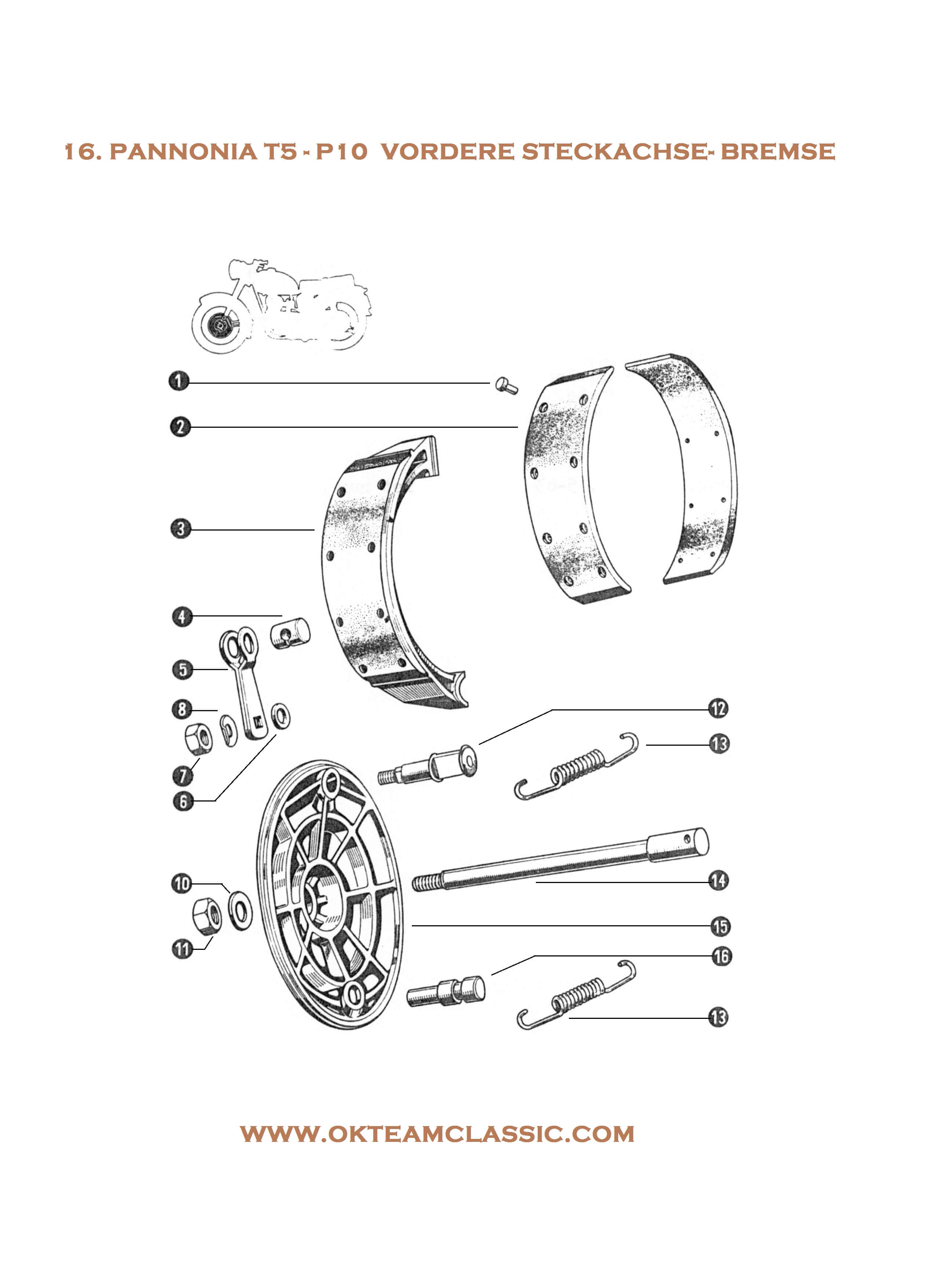 16. Front thru axle – brake