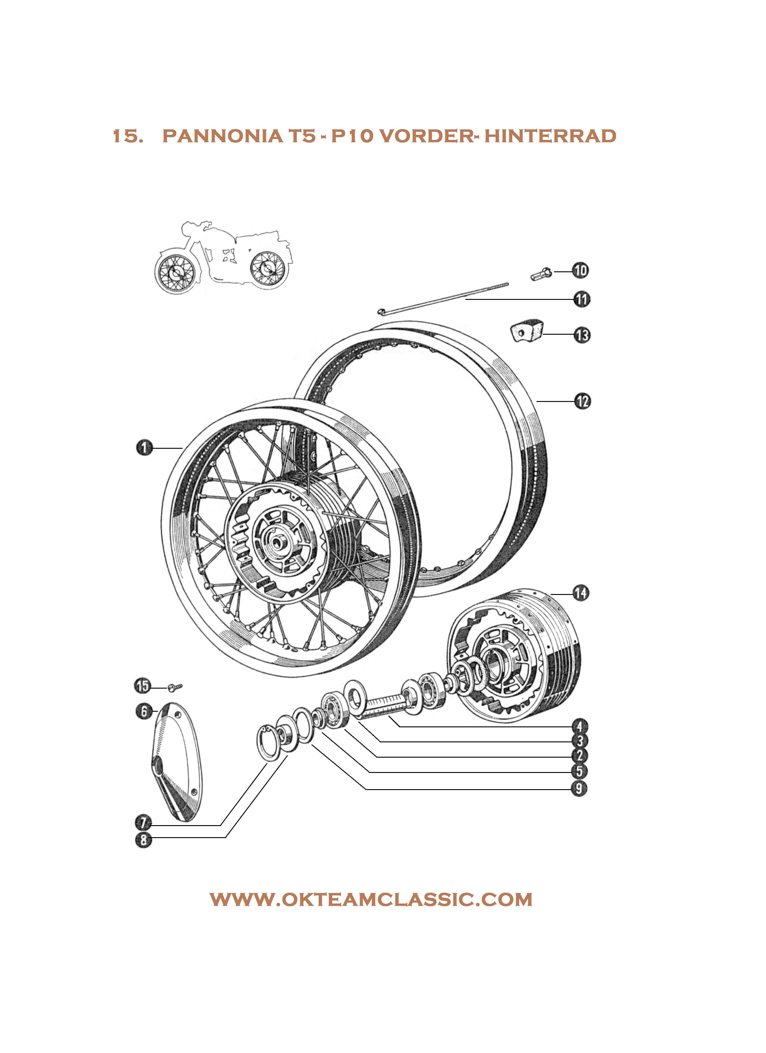 15. Front and rear wheel