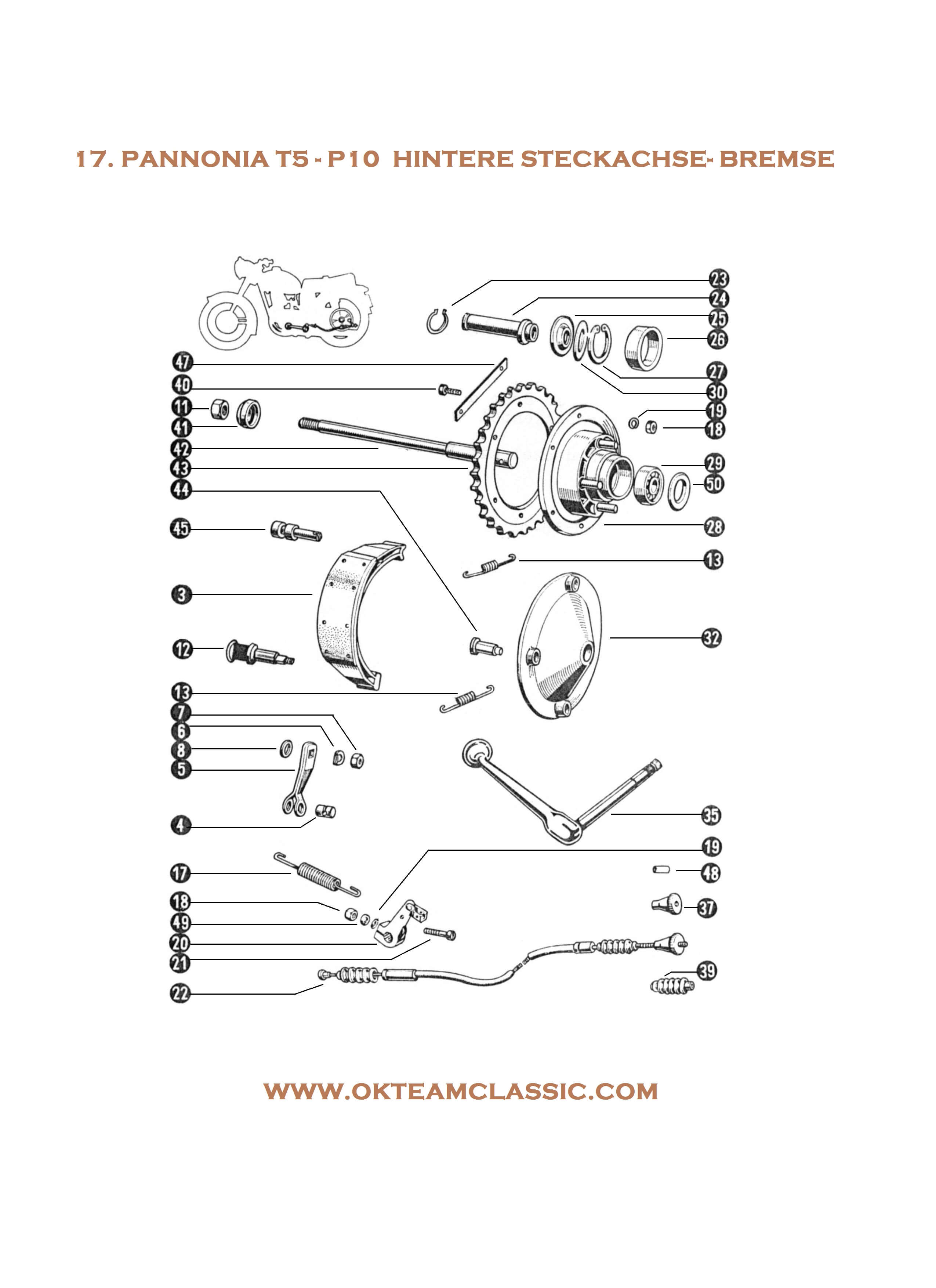 17. Rear thru axle – brake