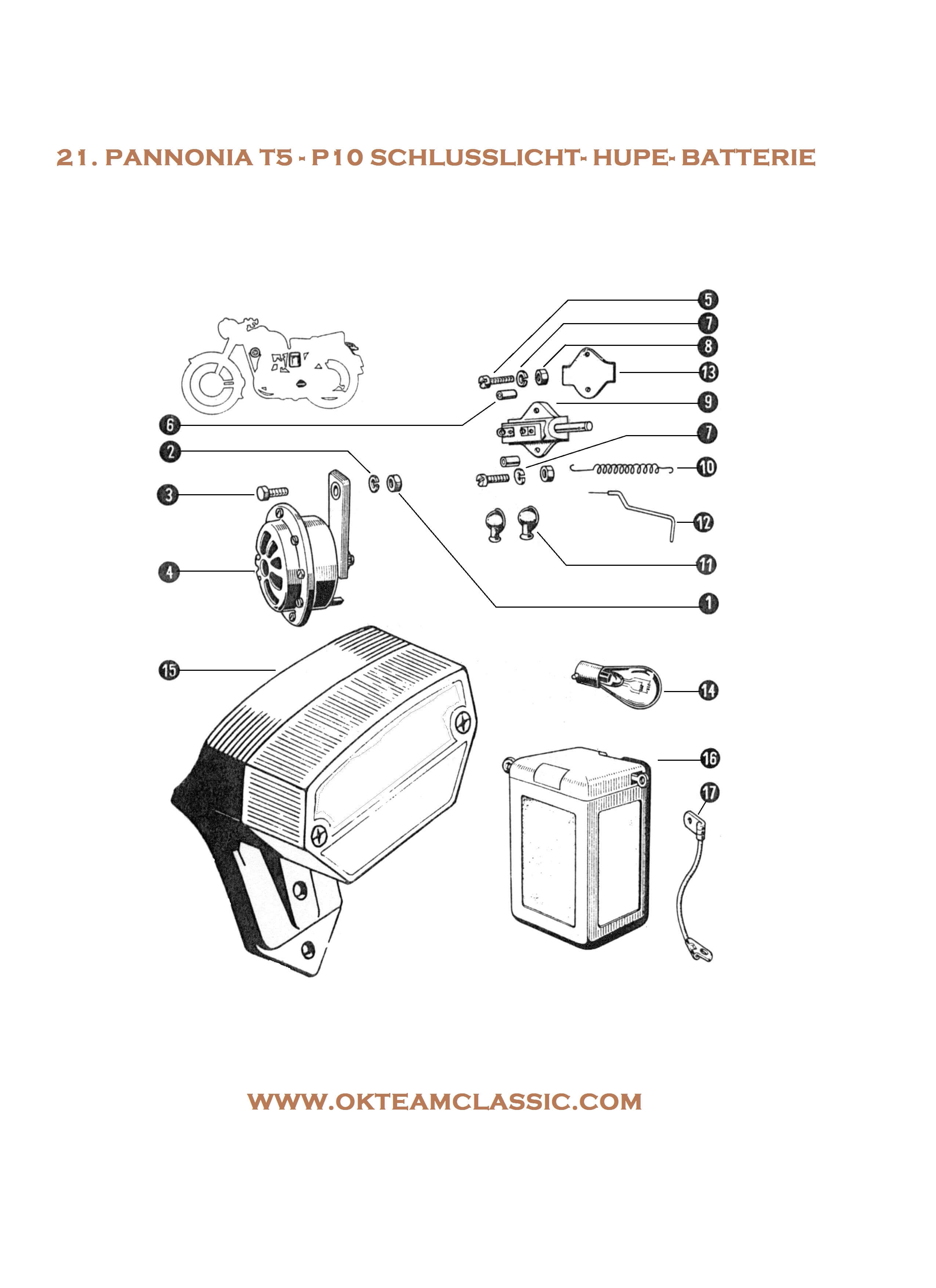 21. Tail light – horn – battery